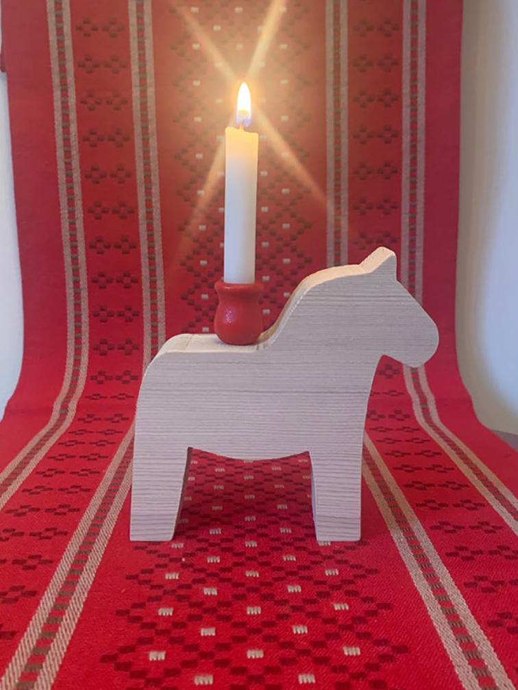 Dala Horses with Candle Cup Set of 2